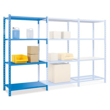 Estantería de cargas pequeñas, módulo adicional, con paneles de acero y una carga por estante de hasta 500 kg