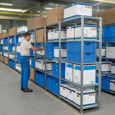 Estantería de cargas pequeñas, módulo inicial, con baldas de paneles de acero y carga por estante de hasta 350 kg, galvanizado