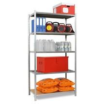 Estantería de cargas pequeñas, módulo inicial, con bases de aglomerado y carga por estante de hasta 300 kg, galvanizado