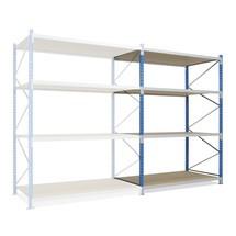 Estantería ancha, con bases de aglomerado, módulo adicional en azul celeste/gris luminoso
