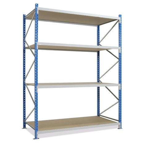 Estantería ancha, con bases de aglomerado, módulo inicial en azul celeste/gris luminoso
