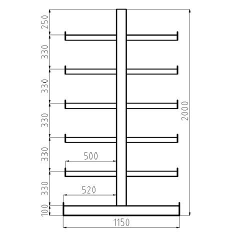 Estanteria cantilever META, módulo básico, bilateral, capacidade de carga de 200 kg