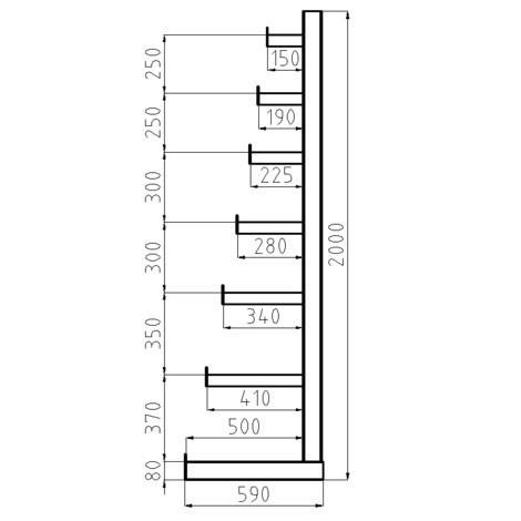 Estanteria cantilever META, módulo básico, unilateral, capacidade de carga de 150 kg