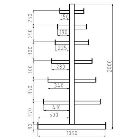 Estanteria cantilever META, módulo básico, bilateral, capacidade de carga de 150 kg