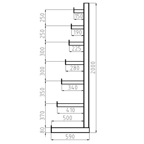 Estanteria cantilever META, unilateral, capacidade de carga de 150 kg