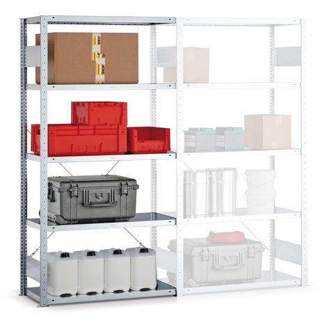 Estantería de cargas pequeñas META con sistema de ensamblaje, módulo adicional y carga por estante de 150 kg, galvanizado