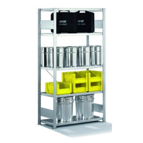 Estantería de cargas pequeñas META con sistema de ensamblaje, módulo inicial y carga por estante de 230 kg, gris luminoso