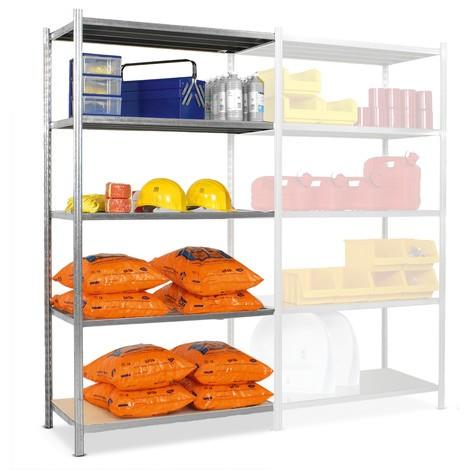 Estantería de cargas pequeñas, módulo adicional, con bases de aglomerado y carga por estante de hasta 300 kg, galvanizado