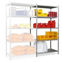 Estantería de cargas pequeñas, módulo adicional, con largueros de chapa de acero, carga por estante de hasta 300 kg, galvanizado