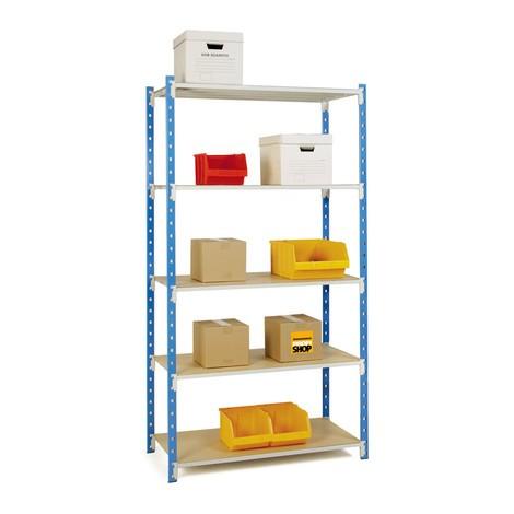 Estantería de cargas pequeñas, módulo inicial azul celeste/gris luminoso, carga por estante hasta 233 kg