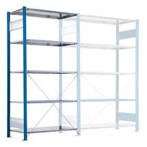 Estantería de cargas pequeñas SCHULTE con montaje encajado, módulo adicional, carga por estante 330 kg, azul genciana/galvanizada