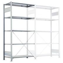Estantería de cargas pequeñas SCHULTE con montaje encajado, módulo adicional, carga por estante 330 kg, gris claro