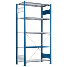 Estantería de cargas pequeñas SCHULTE con montaje encajado, módulo inicial, carga por estante 330 kg, azul genciana/galvanizada