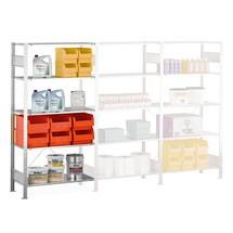 Estantería de cargas pequeñas SCHULTE con sistema de encajado, módulo adicional y carga por estante de 150kg, galvanizada