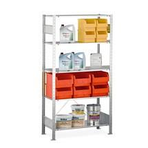 Estantería de cargas pequeñas SCHULTE con sistema de encajado, módulo inicial y carga por estante de 150kg, galvanizada