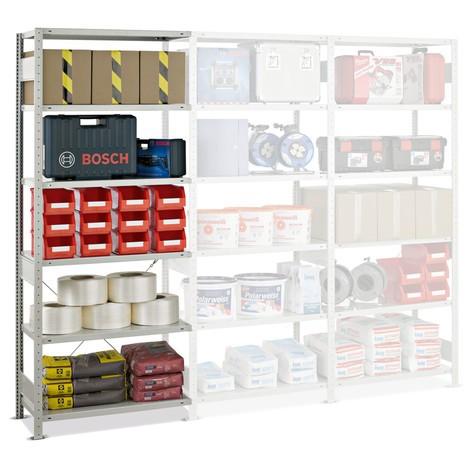 estantería de cargas pequeñas SCHULTE, módulo adicional, carga por estante 150 kg, gris claro