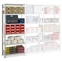 Estantería de cargas pequeñas SCHULTE, módulo adicional, carga por estante 150 kg, gris luminoso