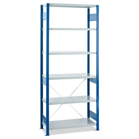 estantería de cargas pequeñas SCHULTE, módulo inicial, carga por estante 150 kg, genciana azul/gris claro
