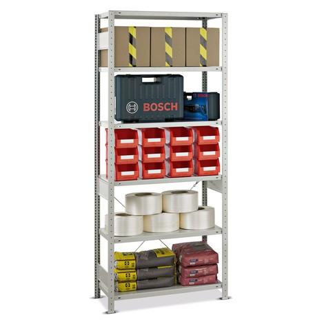 estantería de cargas pequeñas SCHULTE, módulo inicial, carga por estante 250 kg, gris claro