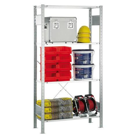 estantería de cargas pequeñas SCHULTE, módulo inicial, galvanizado, carga del estante inferior 150 kg