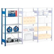 estantería de cargas pequeñas SCHULTE sistema de encajado|sistema de ensamblajes, módulo adicional, Carga del estante inferior 150 kg, Genciana Azul/Galvanizado