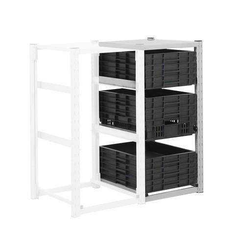 Estanteria de recipientes para caixas de arrumação Eurobox, módulo de montagem