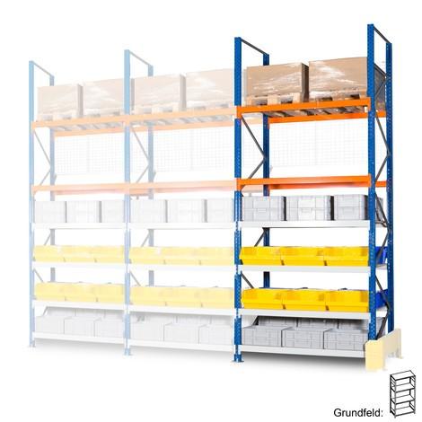 Estanteria híbrida, estanteria larga em aglomerado e de paletes, módulo básico