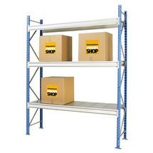 Estanteria larga com painéis de aço, módulo básico, carga de até 710 kg por prateleira