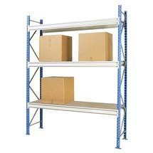Estanteria larga em aglomerado, com painéis de aglomerado, módulo básico, carga de 880 kg por prateleira