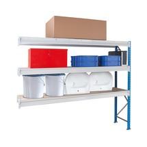 Estanteria larga em aglomerado, com painéis de aglomerado, módulo de montagem