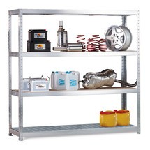 Estanteria larga em aglomerado META, com painéis de aço, carga de 500 kg por prateleira