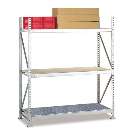 Estanteria larga em aglomerado META, com painéis de aço, carga de 600 kg por prateleira, módulo básico