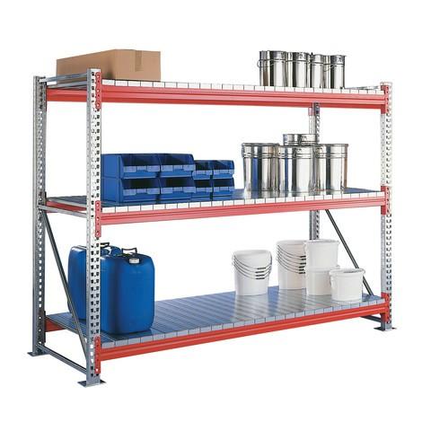 Estanteria larga em aglomerado META, com painéis de aço, módulo básico, galvanizado/laranja avermelhado