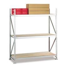 Estanteria larga em aglomerado META, com painéis de aglomerado, carga de 600 kg por prateleira, módulo básico