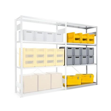 Estanteria larga em aglomerado META, de fila única, módulo de montagem, galvanizado