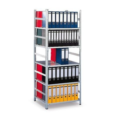 Estantería para archivo META módulo adicional, bilateral, sin estante superior, gris luminoso