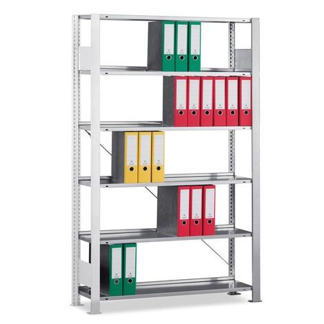 Estantería para archivo META módulo adicional, unilateral, con estante superior, carga por estante 80 kg, gris luminoso