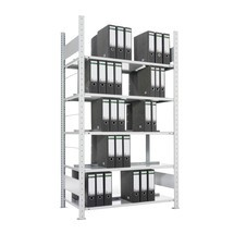 Estantería para archivo META módulo inicial, bilateral, con estante superior, carga por estante de 80 kg, galvanizado