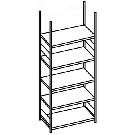 Estantería para archivo META módulo inicial, unilateral, sin estante superior, carga por estante 80 kg, galvanizado