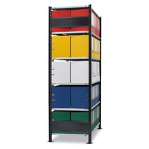 Estantería para archivo SCHULTE, módulo inicial, bilateral, con topes finales, carga por estante 150 kg, negro