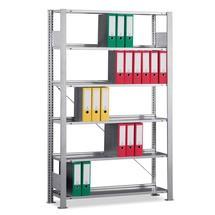 Estanteria para pastas de arquivo META, módulo básico, unilateral, com prateleira superior, carga por prateleira de 80kg, cinza-claro