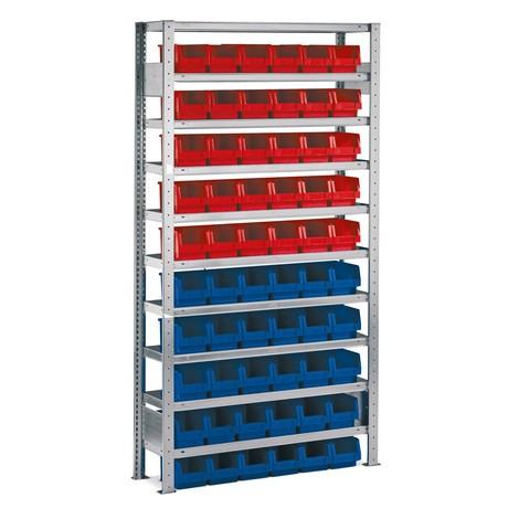 Estanteria para picking META, módulo básico com caixas de armazenamento, carga de 100 kg por prateleira