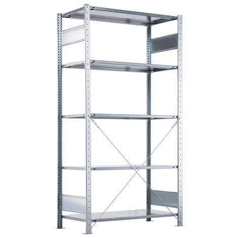 Estantería SCHULTE, montaje enchufable, módulo inicial, carga del estantería de cargas pequeñas 330 kg, galvanizado