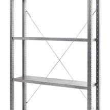 Estrutura cruzada para estanteria para picking com prateleiras em painéis de aço