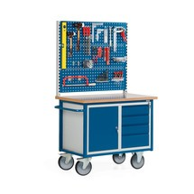 Établi compact avec 1 armoire à porte battante + 4 tiroirs + 3 panneaux perforés