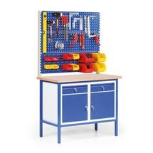 Établi compact avec 2 armoires à porte battante + 2 tiroirs + 2 panneaux perforés + 1 panneau à fentes