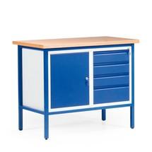 Établi compact avec armoire à porte battante + 4 tiroirs, stationnaire