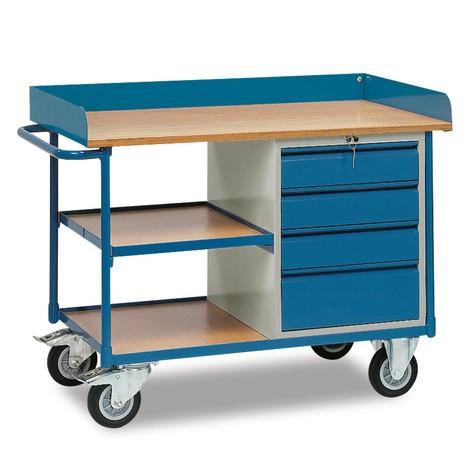 Établi roulant fetra® à rebord haut, 4 tiroirs, 3 plateaux
