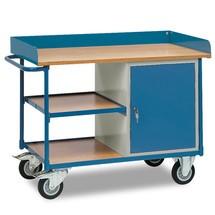 Établi roulant fetra® à rebord haut, armoire, 3 plateaux