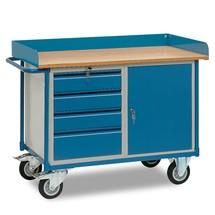 Établi roulant fetra® avec rebord haut, placard, 4 tiroirs